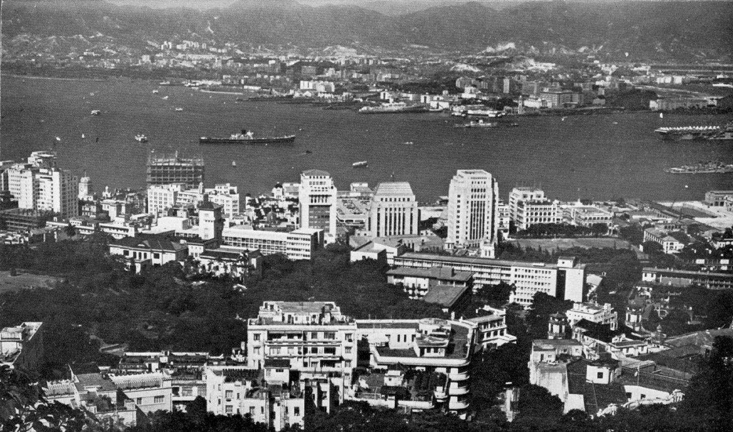 Hong Kong in 1960: zicht vanaf Kowloon op Hong Kong Island