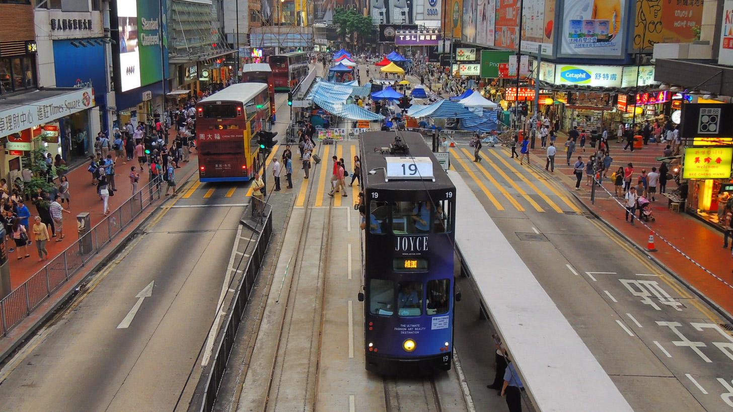 Straatbeeld op Hong Kong Island