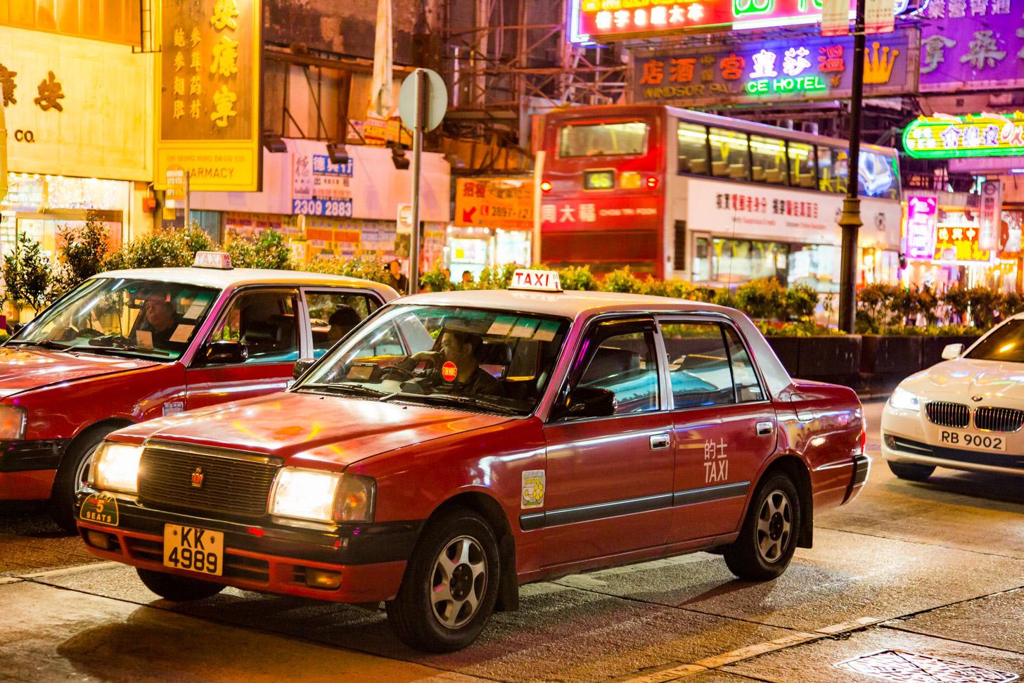 Een taxi in Hong Kong